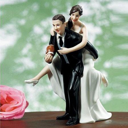Playful Footballer Wedding Cake Topper