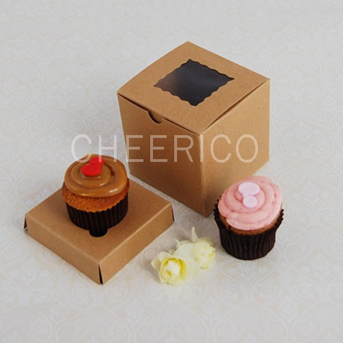 1 Kraft Brown Window Mini Cupcake Box ($1.20/pc x 25 units)