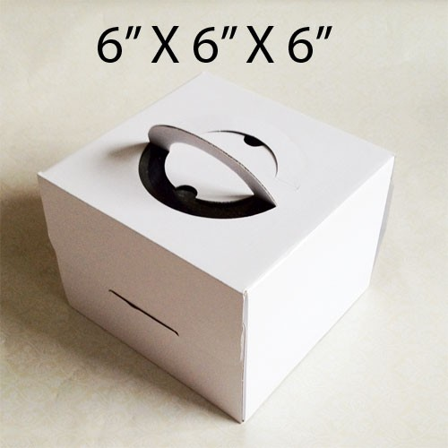 """Cake Boxes with Handle - 6"""" x 6"""" x 6"""" ($1.50/pc x 25 units)"""