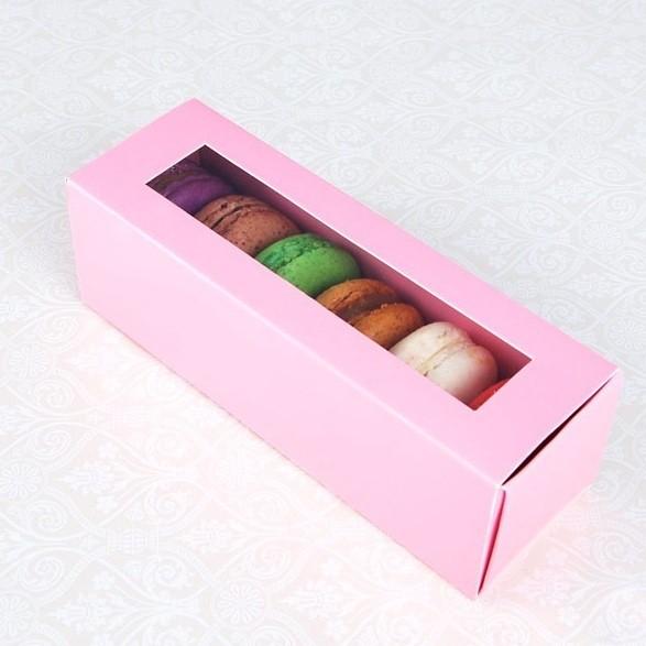 6 Pink Window Macaron Boxes($1.60/pc x 25 units)