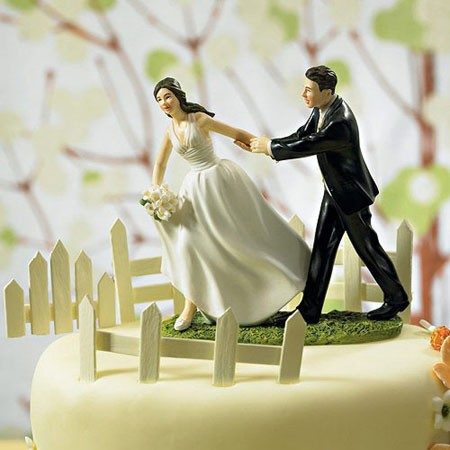 Race to the Altar Couple Wedding Cake Topper