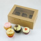 6 Cupcake Window Kraft Brown Box($1.80/pc x 25 units)