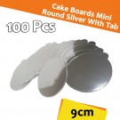 Mini Round Silver With Tab Cake Board 9 Cm 100units