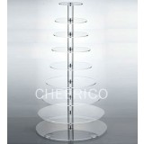 10 Tier Maypole Acrylic Round Cupcake Stand Tower